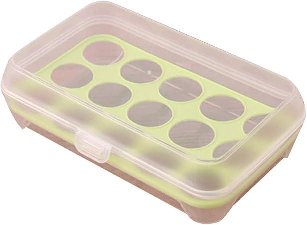 BYSDSG Caja de plástico para contenedor de Huevos Refrigerador Cajas de Almacenamiento Frescas Utensilios de Cocina Organizador portátil para Huevos de Picnic Salvaje Cajas y bandejas de almacen: Amazon.es: Hogar