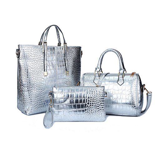 Women Stylish 3 Piece Bag Set,BBDI Alligator Pattern Lash Package PU Leather Shoulder Tote Purse Bag - Silver Sunglasses 3 Piece Set
