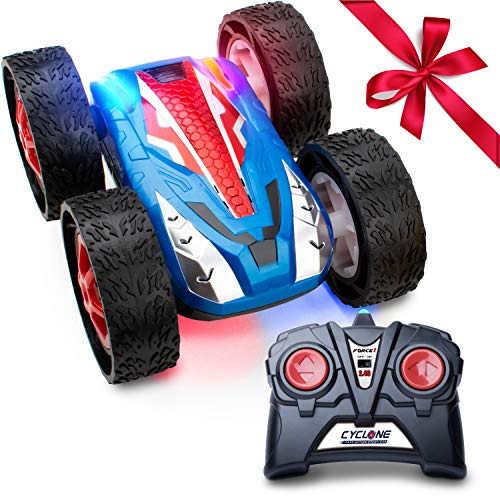 (Force1 Remote Control Car Stunt Car - Cyclone RC Car Double-Sided Flip Radio Control Car w/ LED Lights, Off Road Remote Cars for Boys and Girls (Blue))