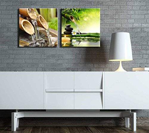 Two Piece Rocks Next to a Plumeria Flower and Bamboo Waterfall with a Candle Floating by on 2 Panels
