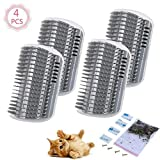 4 Pcs/Set Cat Self Groomer Brush Catnip-Wall Corner Mounted Massage Grooming Comb-Helps Prevent Hairballs and Controls Coming-Safe fortable with Catnip (Gray)