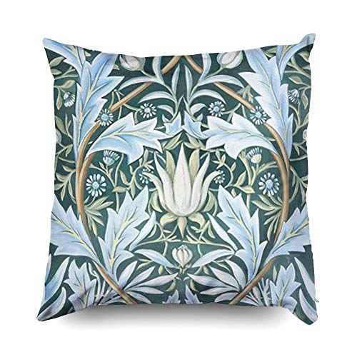 Shorping Zippered Pillow Covers Pillowcases 16X16 Inch Halloween William Morris fine Floral Wallpaper Pattern Decorative Throw Pillow Cover,Pillow Cases Cushion Cover for Home Sofa Bedding