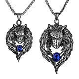 Jacq Stainless Steel Wolf Couple Necklaces for Him and Her 20'' 24'' Chain