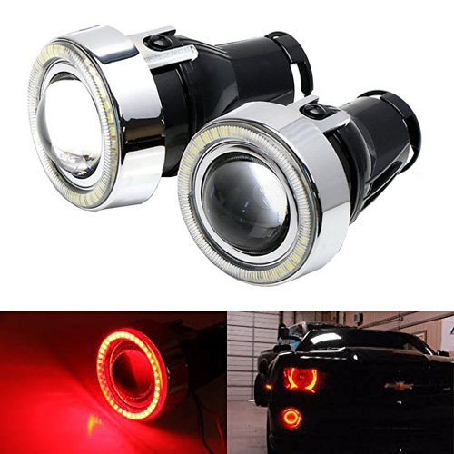 2006 Cobalt Ss Coupe - iJDMTOY 3-Inch Projector Fog Light Lamps w/ 40-SMD Brilliant Red LED Halo Angel Eyes Rings For Any Car SUV Truck