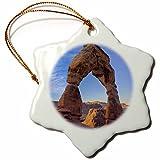 3dRose orn_94731_1 Utah, Arches NP, Delicate Arch at Sunrise-US45 DSV0005-David Svilar-Snowflake Ornament, Porcelain, 3-Inch