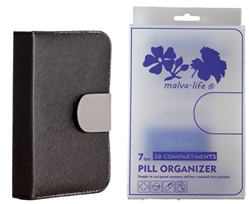 Pill Organizer 4 Times a Day with Cute Case (7 Day Pill Boxes am/pm) Medicine, Supplement, Vitamin | Wallet Dispenser for Travel Medication | Women,Men,Kids | BPA-Free, Easy Open | Black