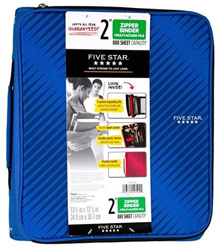 Five Star 2 Quot Durable Zipper Binder Includes 6 Pocket