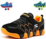 Boy's Athletic Sneakers Strap Breathable Casual Running Shoes(Black,2.5 M US Little Kid)
