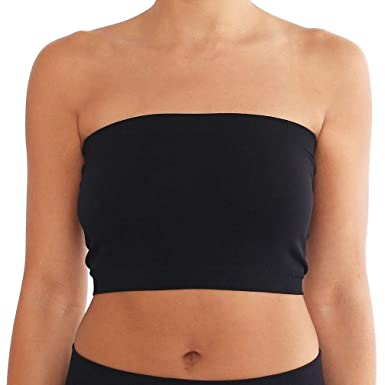 222d9a09ef Seamless Bandeau Strapless Tube Top Bra Black  Amazon.co.uk  Clothing