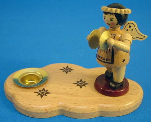 Zeidler Candleholder Natural Wooden Angel Cymbals Christmas