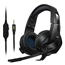 Gaming Headset, MiluoTech for PS4, PC, Xbox One Controller, Noise Cancelling Over Ear Headphones with Mic, Bass Surround, Soft Memory Earmuffs for Laptop Mac Switch Games