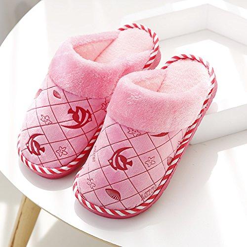 hot sale 2017 L'automne et l'hiver Chaussons en coton à l'intérieur de la maison des couples femme sac antidérapant avec confinement à fond épais chaud chaussures chaussures d'hommes, 38-39 (37-38 pieds),