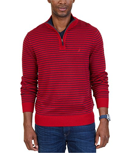 Nautica Striped Sweater - Nautica Mens Striped Knit Pullover Sweater, Red, XX-Large