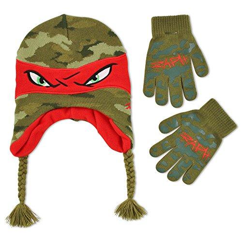 Nickelodeon Big Boys Teenage Mutant Ninja Turtles Raphael Acrylic Knit Winter Laplander Hat and Matching Glove Set, Red, One Size