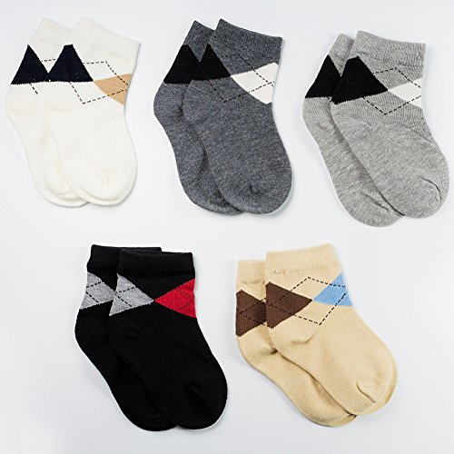 LALUNA BRIDE Kids Boys Cotton Dress Crew Socks 5 Pairs Value Pack Assorted Colors