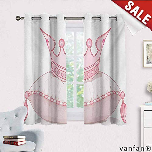 Big datastore Extra Long/Short Drapes and Curtains,Queen,Cartoon Style Cute Pink Princess Crown On Pillow Fairy Tail Fantasy Girlish Fashion,Custom Availablepale Pink,W72 Xl63