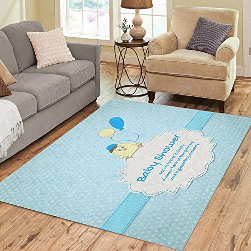 - Pinbeam Area Rug Blue Birth Baby Cute Chick Announcement Balloon Birthday Home Decor Floor Rug 5' x 7' Carpet