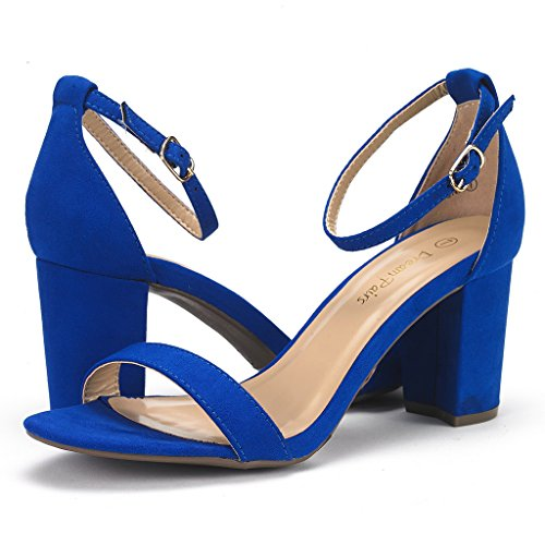 DREAM PAIRS CHUNK Women's Evening Dress Low Chunky Heel Open Toe Ankle Strap Stiletto Wedding Pumps Sandals Royal-Blue Size 8.5