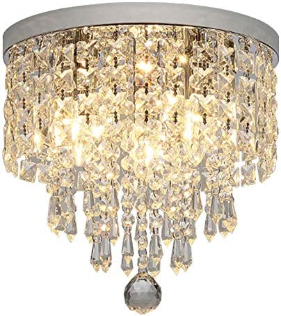 Hsyile KU300142 Modern Chandelier Crystal Ball Fixture Pendant Ceiling Lamp H9.84 X W9.84 ,for Living Room,Bedroom,Aisle,Corridor,3 Lights