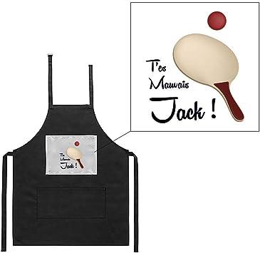 Tablier noir de cuisine barbecue citation OSS 117 t/'es mauvais jack imprimé