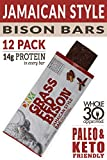 DNX 100% Grass Fed Protein Bars | Keto Friendly Meat Snack With a Truly Epic Taste | Whole30 Approved, Gluten Free, Organic Ingredients, No Preservatives | (Bison Jamaican Style, 12 - Pack)