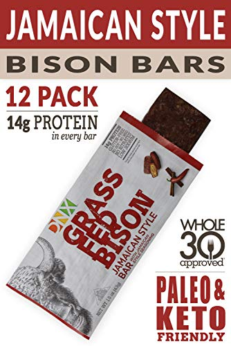 DNX Grass Fed Protein Bars | 12-Pack Keto Friendly Meat Snack With a Truly Epic Taste | Whole30 Approved, Gluten Free, Organic Ingredients, No Preservatives (Bison Jamaican Style, 12 - Pack)