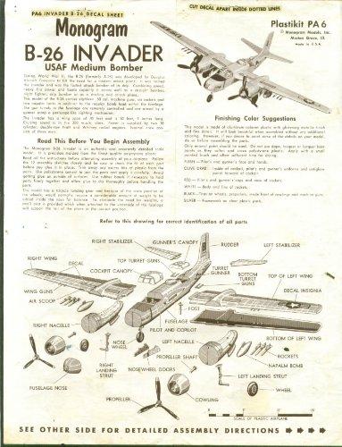 - B-28 Invader Bomber Momogram Model Kit Instructions 60s