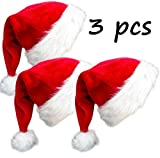3 Pack Plush Christmas Hat Santa Hat for Adults Red Velvet Comfort Liner Christmas Costume (Red)