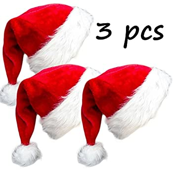 3 Pack Plush Christmas Hat Santa Hat for Adults Red Velvet Comfort Liner  Christmas Costume (Red) 993f4b6018b3