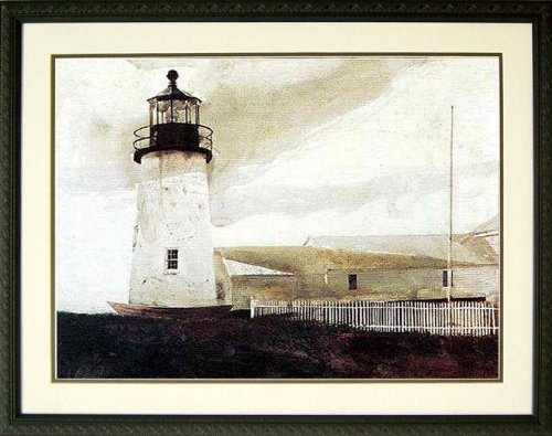 Easterly Nautical Art Print By Andrew Wyeth Light House 31x23 ()