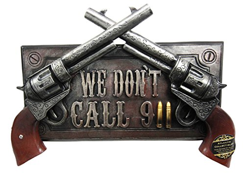 (Ebros No Warning For Trespassers Wild West Dual Six Shooter Guns With Bullets Wall Art Sign Plaque Western Two Pistols Wall Decor 3D Figurine)