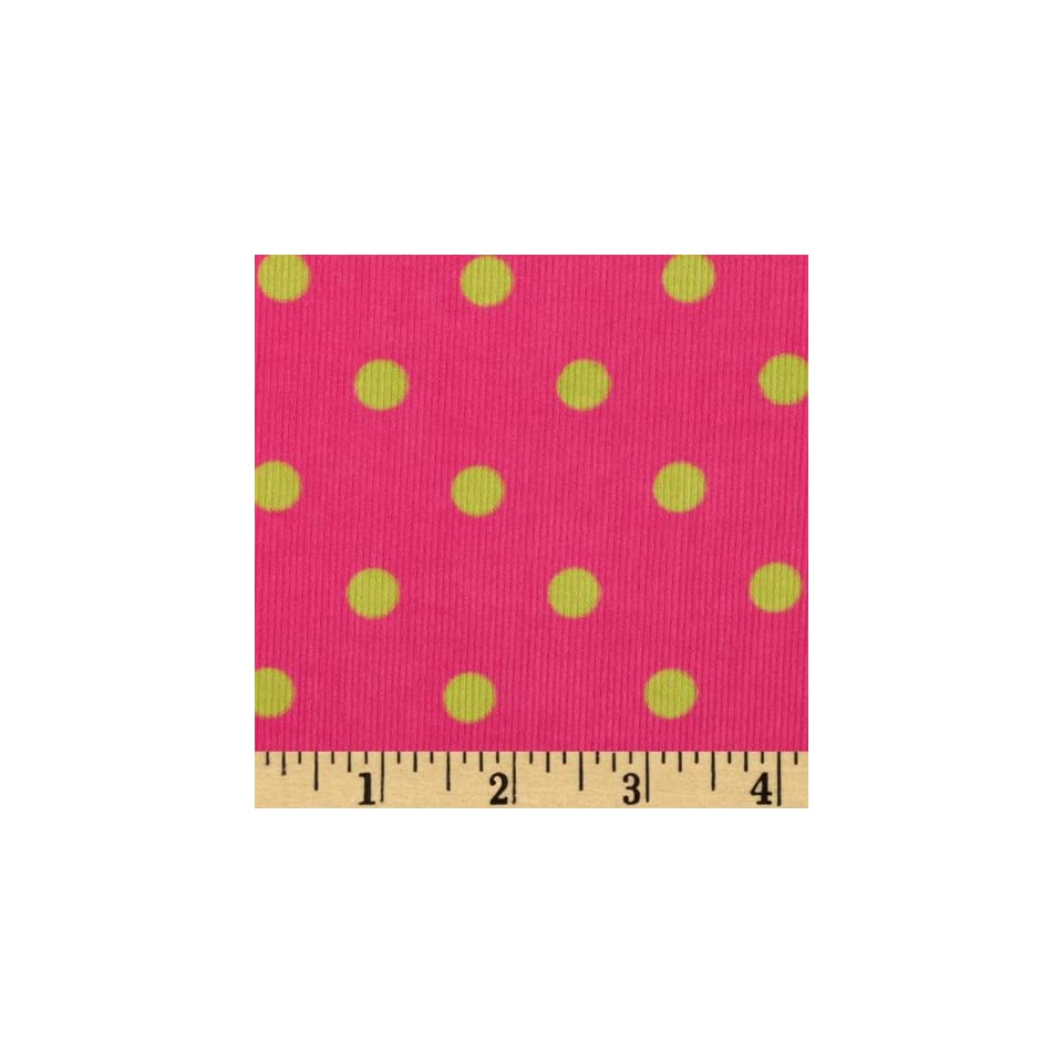 44 Wide Kaufman 21 Wale Cool Cords Large Dots Hot Pink Fabric By The Yard