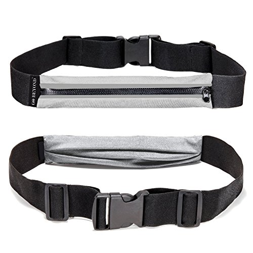 Go Beyond Elastic Running Waist Belt for Trail Running and Hiking (Light Gray, Compatible for all Phones Accessories Keys Money) (Horizon Adventure 5)
