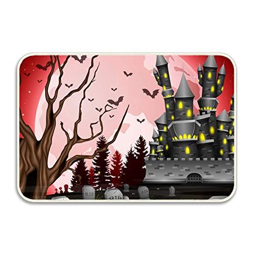 (Ranhkdn Printed Soft Floor Door Mat/Area Entry Rugs for Kitchen Living Hallway Bathroom-Halloween Castle and)