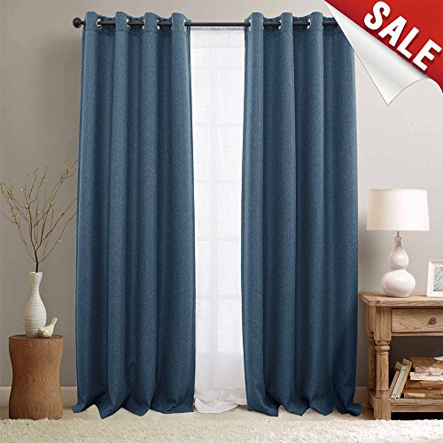 r Bedroom 84 inch Linen Look Window Curtains for Nursery Living Room Window Treatment 2 Panels Denim Blue (Solid Black Denim Drapes)