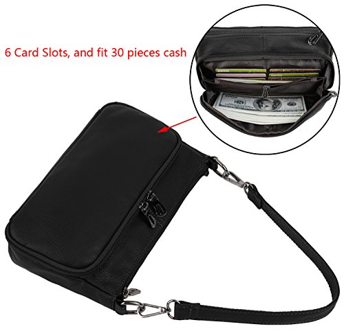 YALUXE Women's Small Size Crossbody Bag Leather Mini Purse with 6 Card Slots and fit 5.5'' Smartphone Black by YALUXE (Image #2)