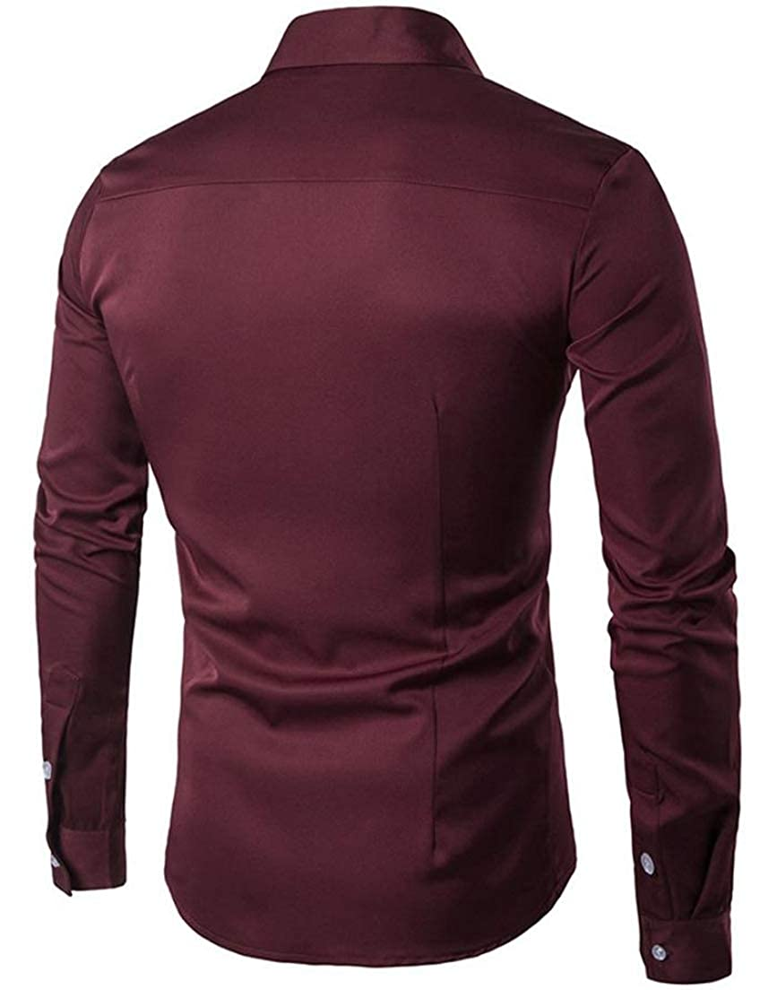 Blyent Men Turn Down Long Sleeve Embroidered Tops Button Up Shirts