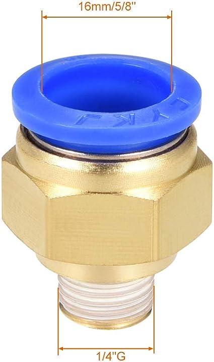 Acoplamientos neum/áticos rectos para conexi/ón r/ápida G 1//4 macho x 10 mm tubo OD 6 unidades Sourcingmap