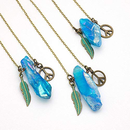 Raw aqua blue crystal aura quartz antique bronze bohemian pendant necklace 24 in