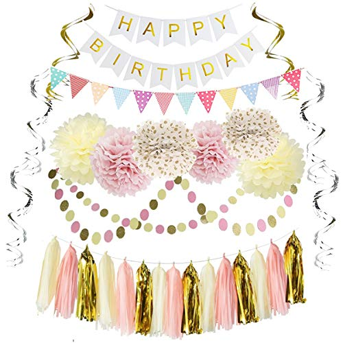 - Free Yoka Birthday Party Decorations Kit Kids Girls Supplies with Banner, Flag, Tissue Flowers, Hanging Swirls, Dot Garland in Pink