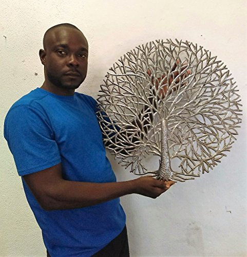 It's Cactus Haitian Tree of Life Wall Plaque, Decorative Kitchen Metal Tree, Wall Hanging Art, Indoor or Outdoor Decor, Handmade in Haiti, NO Machines Used, 24 in. x 24 in. (Tranquility Tree)