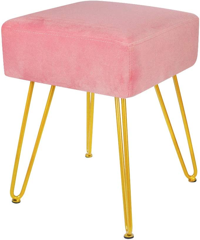 Velvet Footrest Stool Ottoman Round Modern Upholstered Vanity Footstool Side Table Seat Dressing Chair with Golden Metal Leg (Pink Square)
