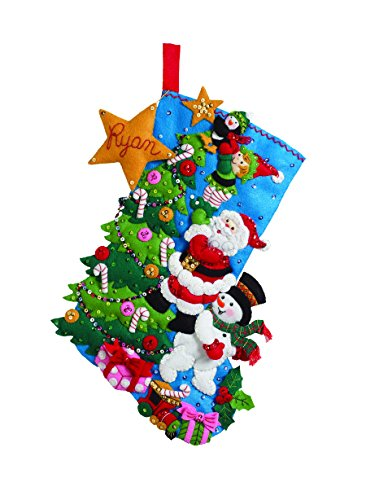 Bucilla 18-Inch Christmas Stocking Felt Applique Kit, 86278 The Finishing Touch