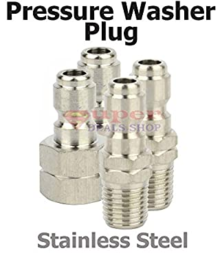 2 Pcs FNPT Stainless Steel Pressure Washer Plug, Female NPT, Quick Coupler Plug, 5200 PSI Rating, Washing Accessories Super-Deal-Shop