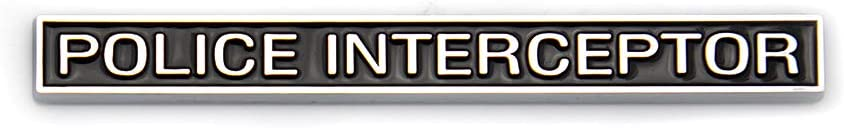 2X Police Interceptor Emblems Premium Car Badge Fender Sticker Fit For Explorer Black with Silver outline