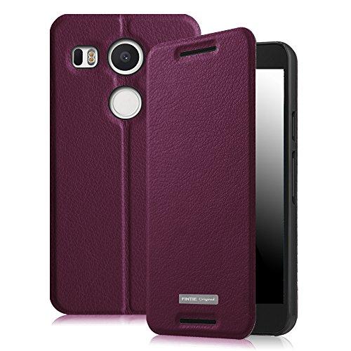 Fintie Nexus 5X Hülle - Premium Flip Cover Handytasche im Bookstyle mit Standfunktion und Card Holder Wallet Case für LG Nexus 5X , Lila