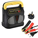 Car Battery Charger and Maintainer, 12V/24V 10A Automotive Battery Charger/Maintainer with LCD Screen, UK Plug for Cars Truck Motorcycle