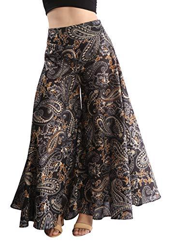 Tropic Bliss Women's Wide-Leg Cotton Palazzo Pants Multicolored (X-Small, Black Gold)