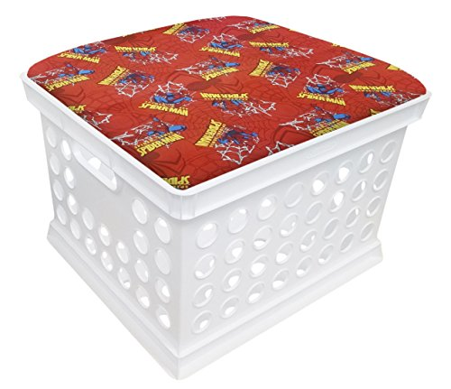 (White Utility Crate Storage Container Ottoman Bench Stool for Office/Home/School/Preschools with Your Choice of Seat Cushion Theme and a Free Flashlight! (Spiderman))