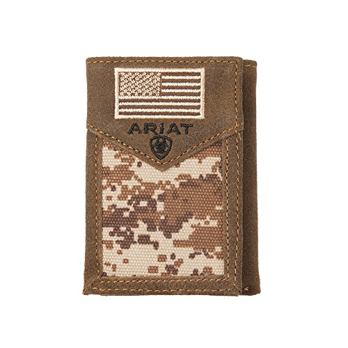 Mens Med Flag Western Wallet Ariat Camo Brown Lace USA q0EUO